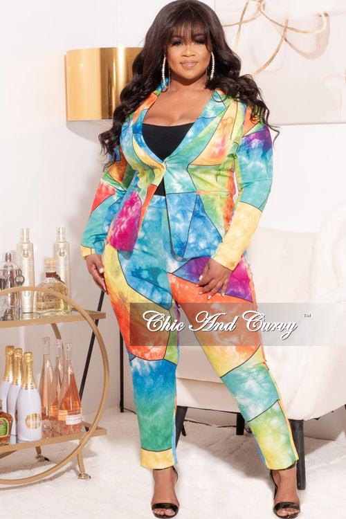 *Final Sale Plus Size 2-Pc Suit in Multi-Color Glass Print
