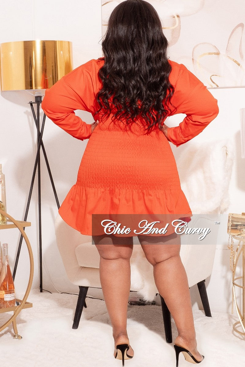 *Final Sale Plus Size Ruched Middle Bodycon Dress in Orange