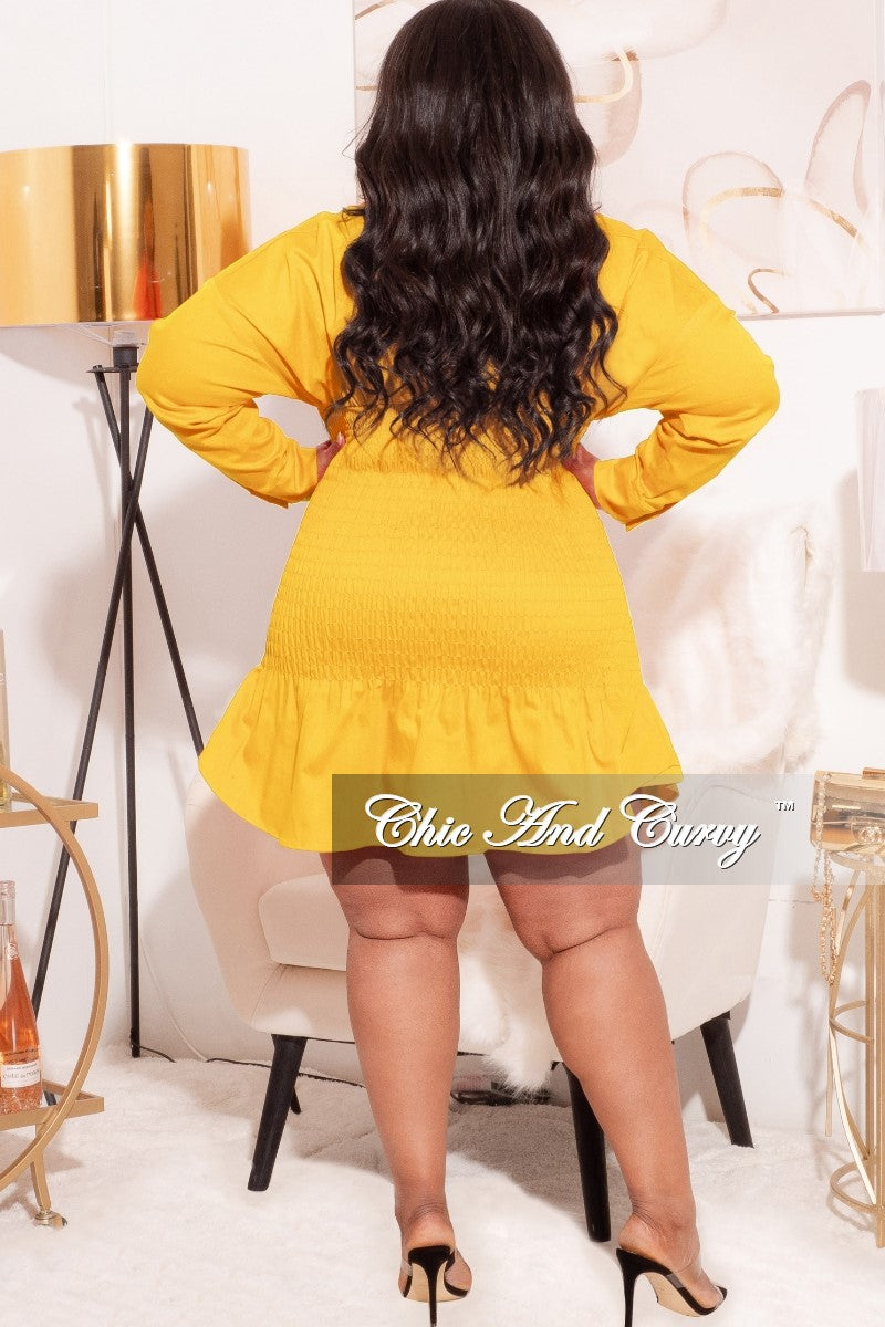 *Final Sale Plus Size Ruched Middle Bodycon Dress in Sunshine Yellow
