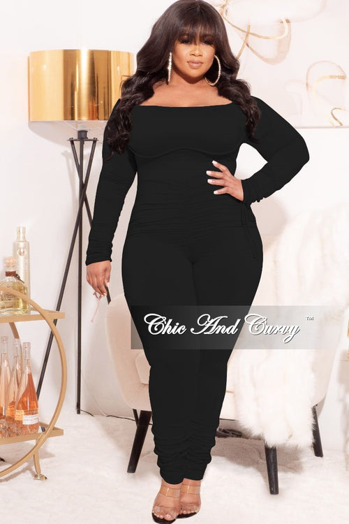 *Final Sale Plus Size Ruched Jumpsuit in Black
