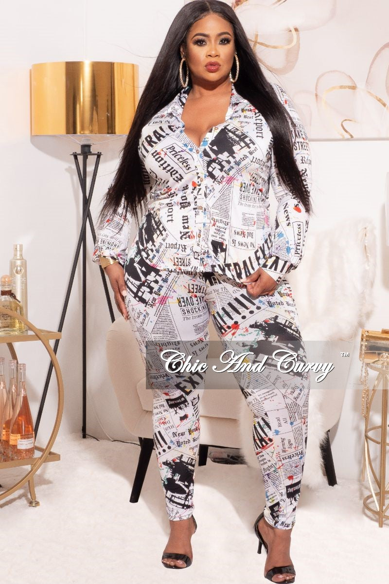*Final Sale Plus Size 2-Piece Button Up Collar Top and Pants Set in Colorful Newsprint