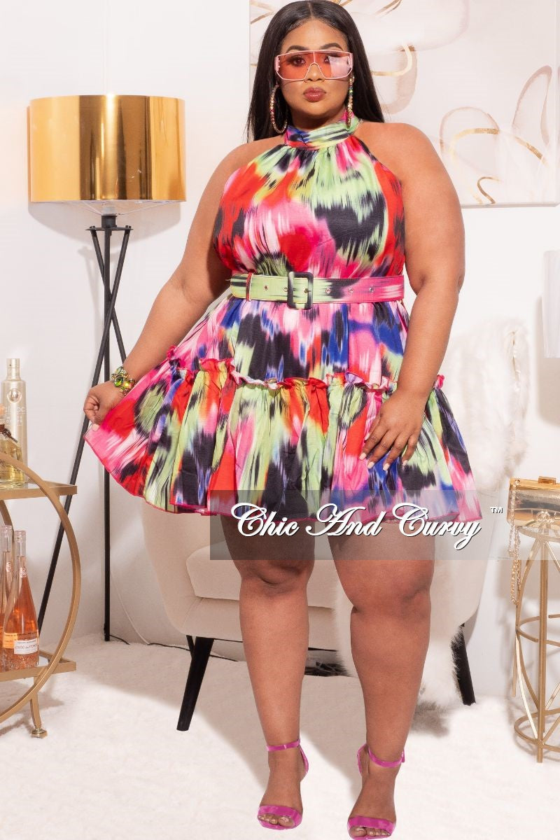 *Final Sale Plus Size Satin Belted Halter BabyDoll Dress in Multi-Color Print