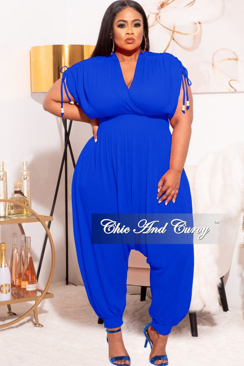 *Final Sale Plus Size Jumpsuit with Harem Effect in Royal Blue