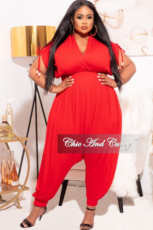 *Final Sale Plus Size Jumpsuit with Harem Effect in Red