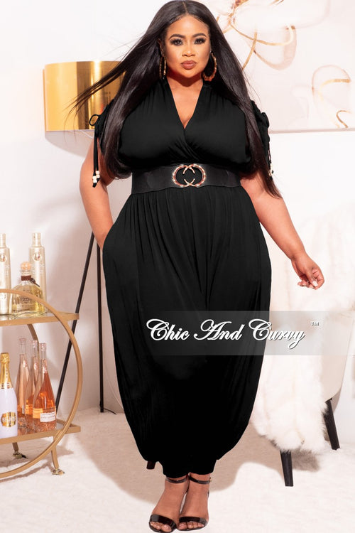 *Final Sale Plus Size Jumpsuit with Harem Effect in Black