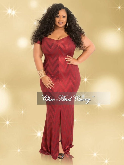 35% Off Sale - Final Sale  Plus Size Mesh Off the Shoulder Dress with Front Slit and Gold Back Zipper in Burgundy