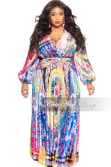 New Plus Size Silky Dress in Colorful Boho Print
