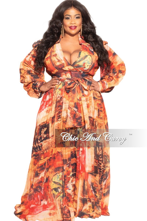 New Plus Size Chiffon Dress in Autumn Watercolor Print
