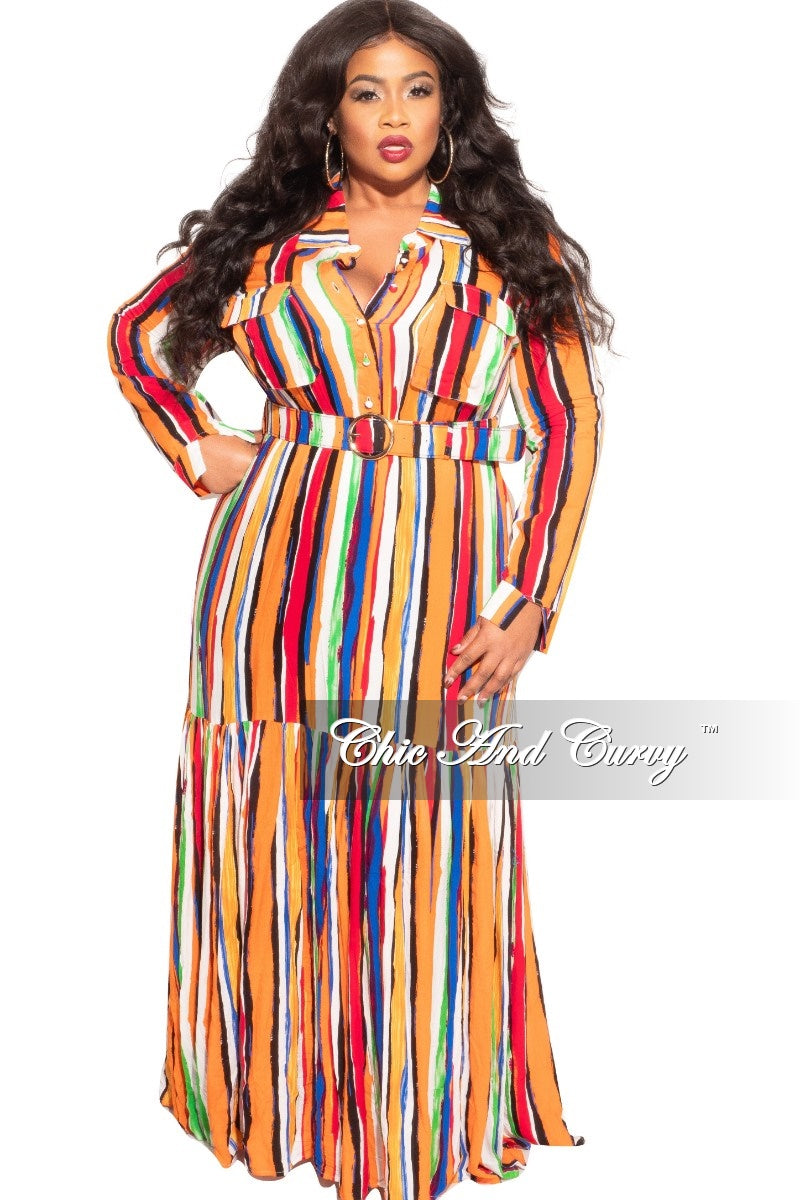 New Plus Size Dress in Autumn Stripe Print