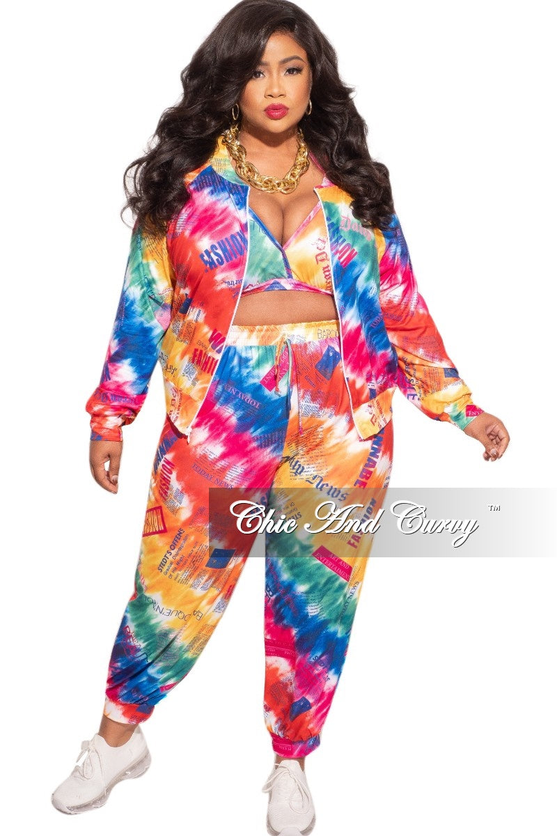 New Plus Size 3pc (Jacket, Top & Pants) Set in Multi-Color Print