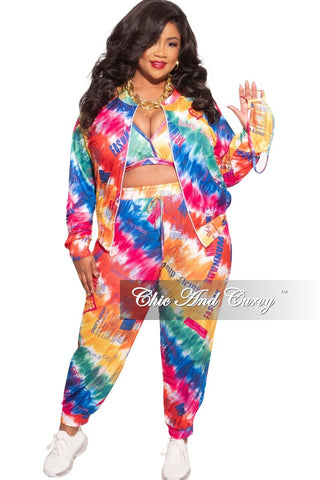 *Deal of the Day Final Sale Plus Size 2-Piece (Knotted Top & Bermuda Short) Set in Navy / Brown Tie Dye