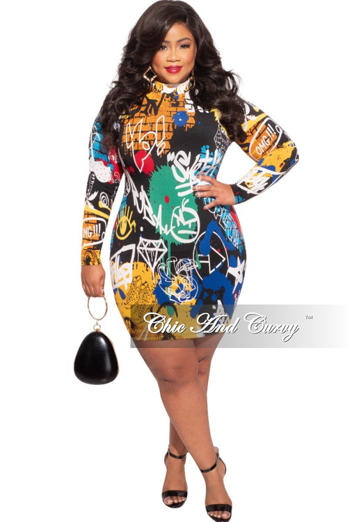 Final Sale Plus Size Mini BodyCon Dress in Graffiti Print