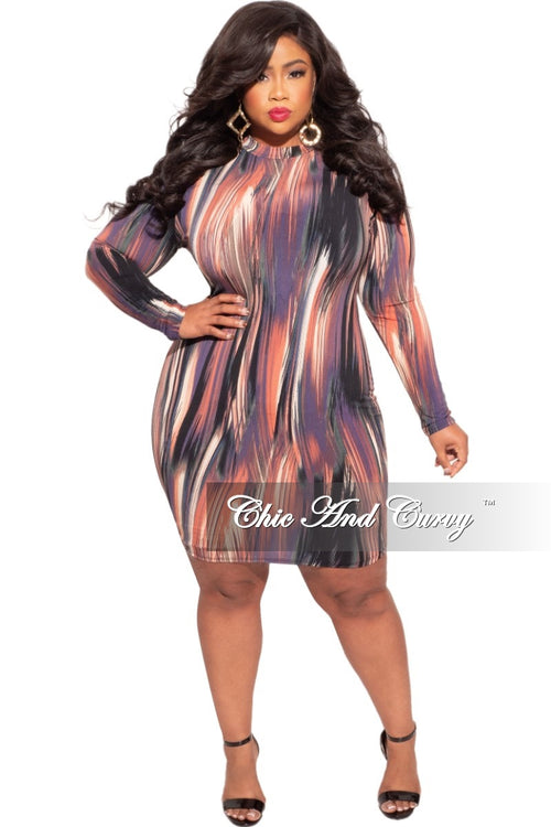 Final Sale Plus Size Bodycon Dress in Multi-Color Brushstroke Print