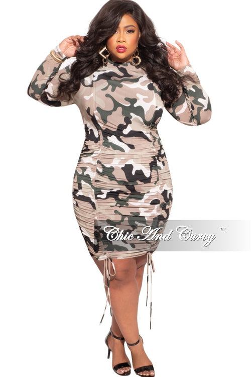 New Plus Size High Neck Dress with Ruching in Camouflage Print