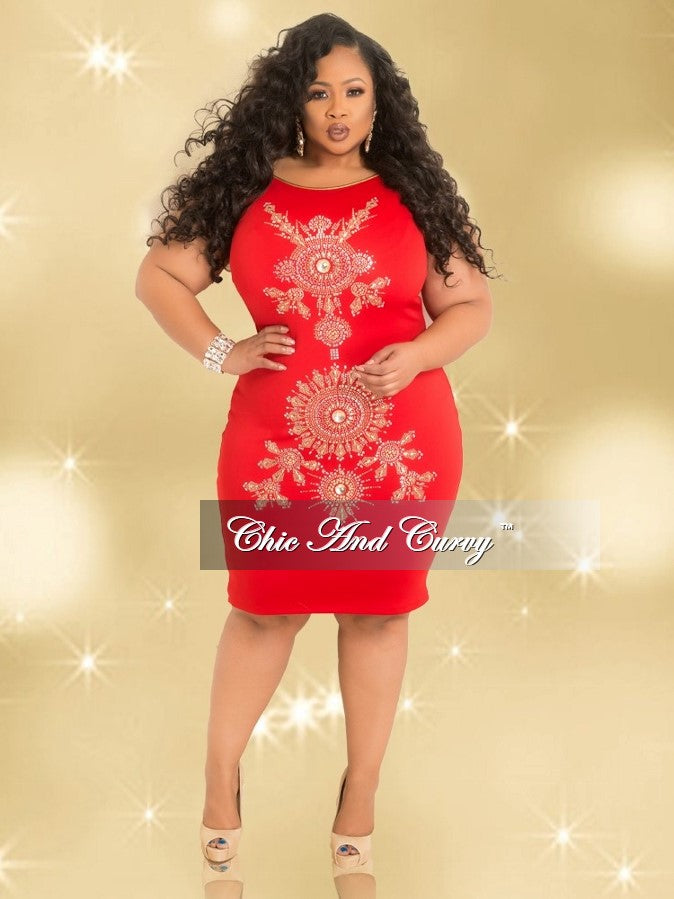 Final Sale Plus Size Sleeveless BodyCon Rhinestone Dress in Red and Gold