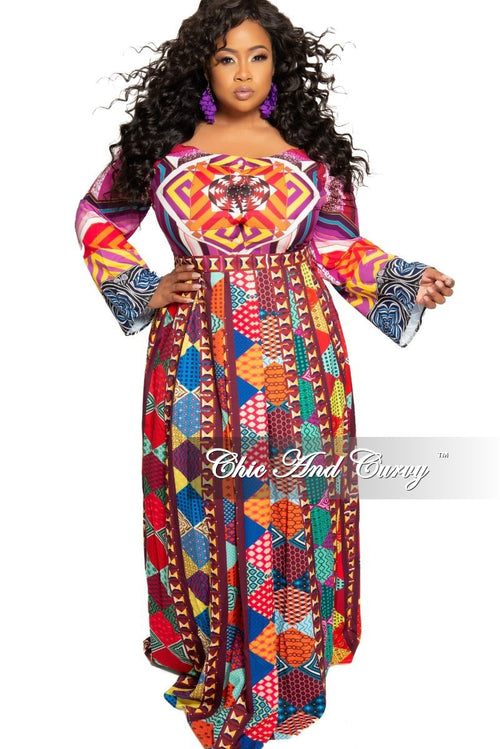 9b2a097ab91 Final Sale Plus Size Off the Shoulder Maxi Dress with Front Buttons in  Multi Color Print