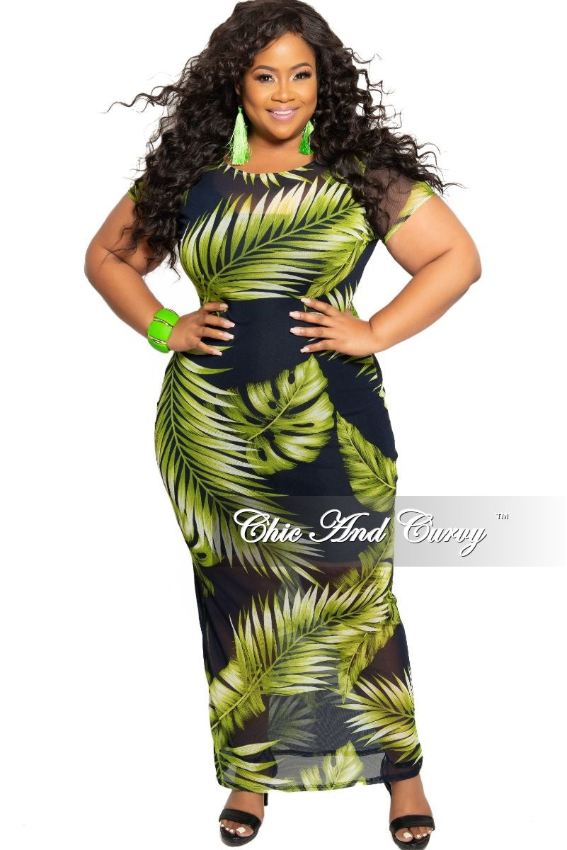 892e6a479 Final Sale Plus Size Short Sleeve Mesh BodyCon Dress in Navy and Green –  Chic And Curvy