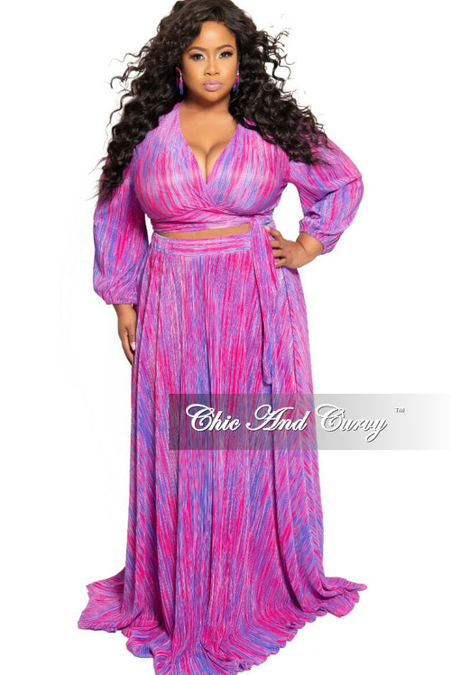 Final Sale Plus Size 2-Piece Faux Wrap Bow Tie Top and Skirt Set in Magenta and Purple