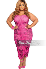 Final Sale Plus Size Strapless Ruched BodyCon Dress in Pink Snake Skin Print