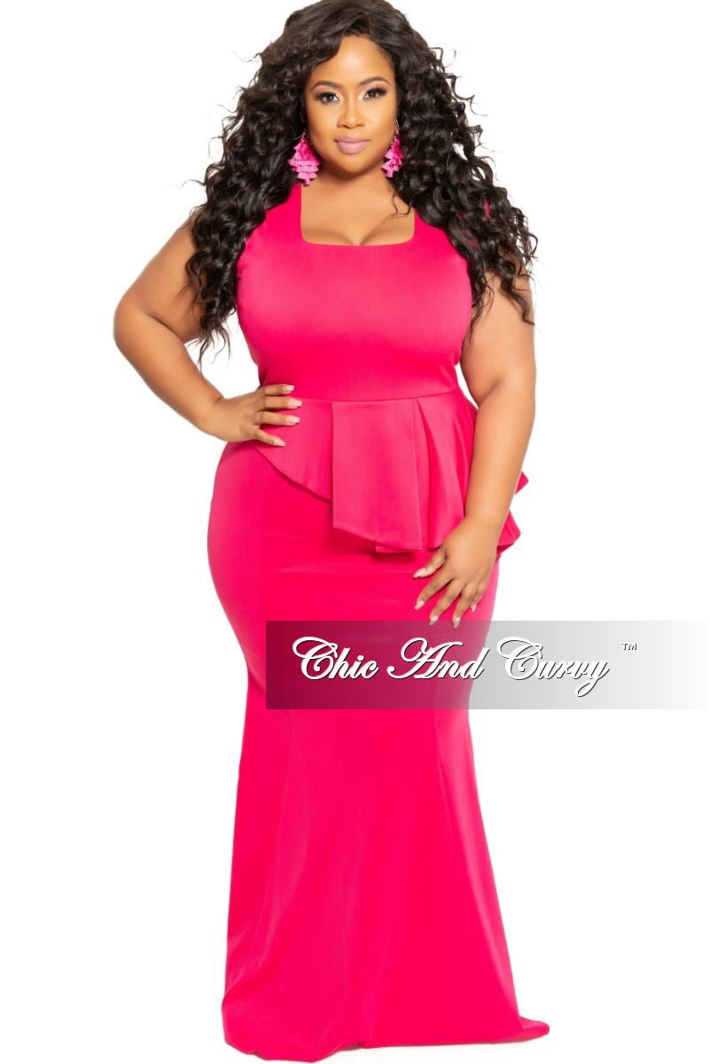 New Plus Size Cap Sleeve Gown with Asymmetrical Ruffle Peplum in Hot ...