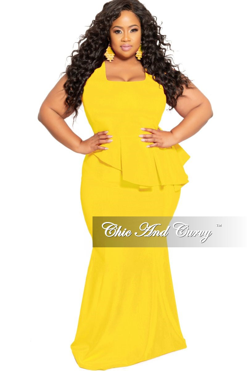 1bc308e1a66a New Plus Size Cap Sleeve Gown with Asymmetrical Ruffle Peplum in Yello –  Chic And Curvy