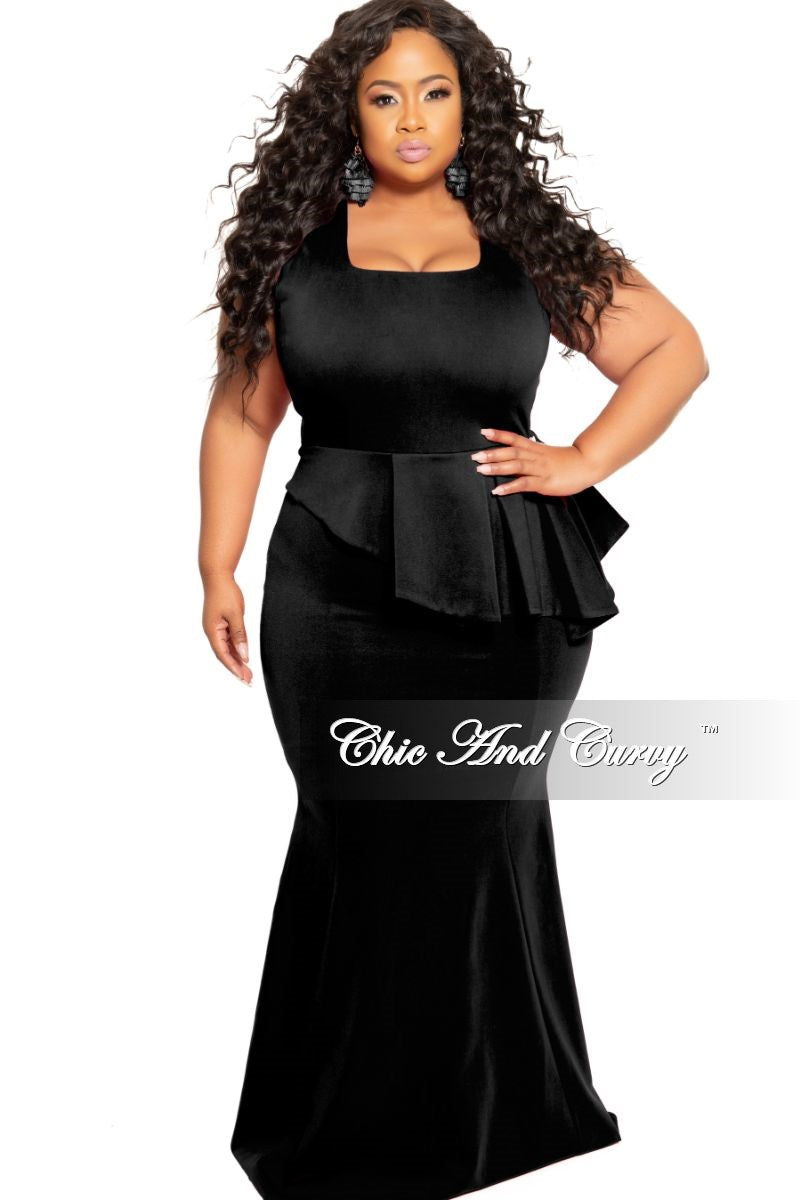 e68401bb17d5 New Plus Size Cap Sleeve Gown with Asymmetrical Ruffle Peplum in Black –  Chic And Curvy