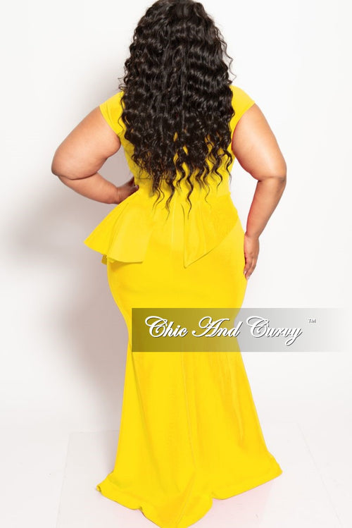 New Plus Size Cap Sleeve Gown with Asymmetrical Ruffle Peplum in Yellow