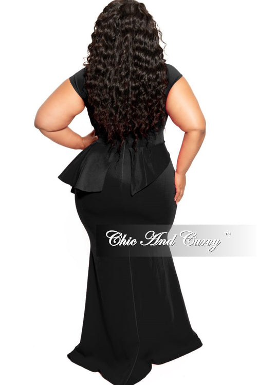 New Plus Size Cap Sleeve Gown with Asymmetrical Ruffle Peplum in Black Scuba