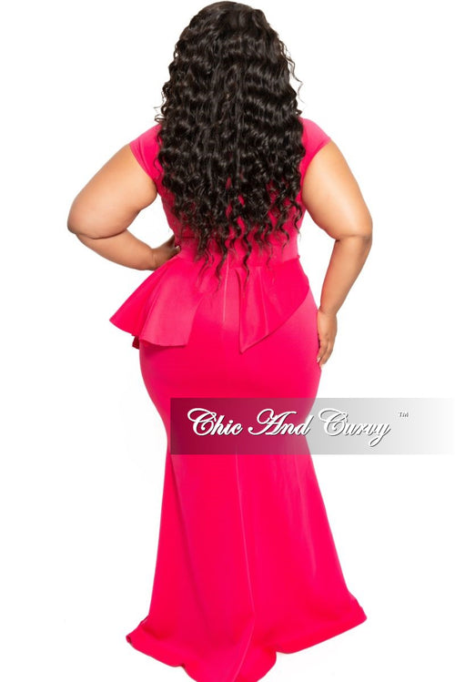 New Plus Size Cap Sleeve Gown with Asymmetrical Ruffle Peplum in Hot Pink