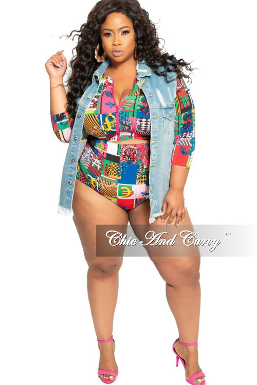 Final Sale Plus Size 2-Piece (Zip Up Crop Top and High Waist Brief) Poolside Playsuit in Multi Color Design Print