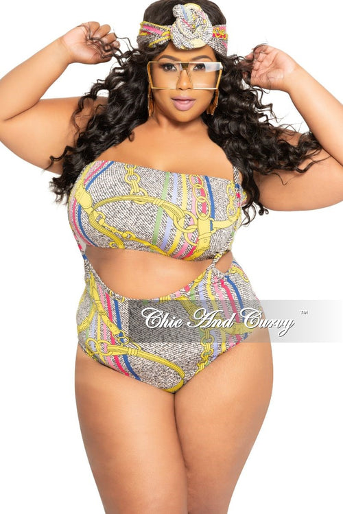 Final Sale Plus Size 3-Piece (Tube Top, High Waist Brief with Straps and Head Wrap) Poolside Playsuit in Multi Color Chain Print