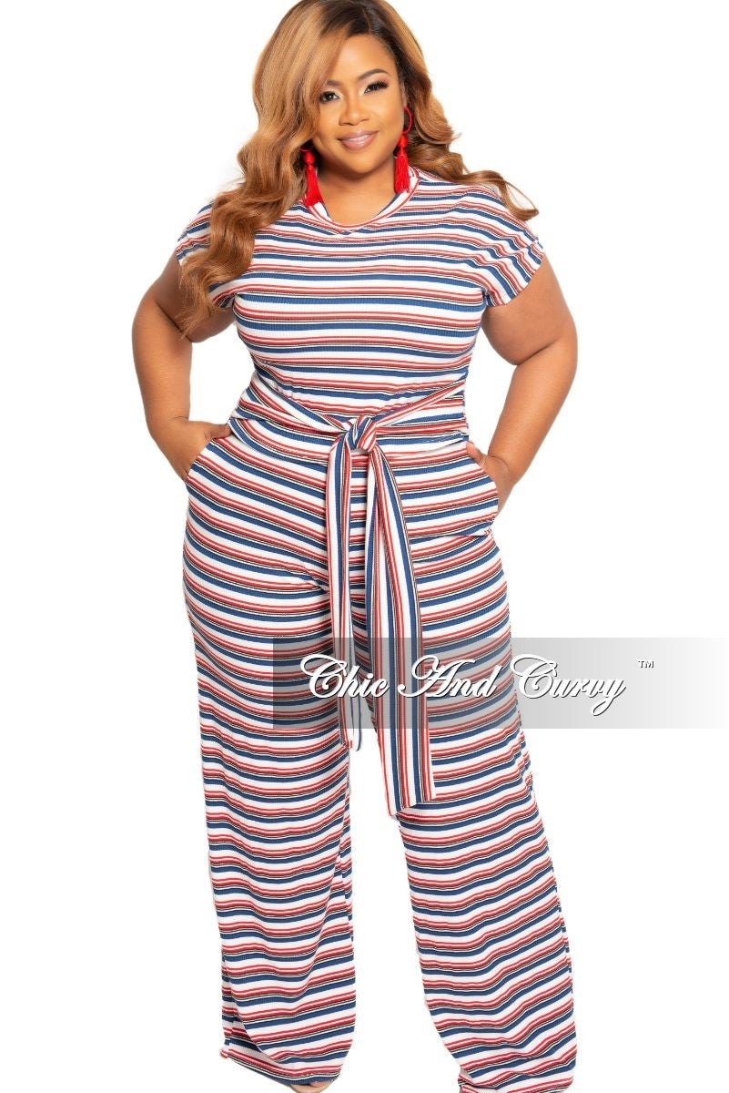 New Plus Size Ribbed 2-Piece Crop Tie Top and Pants Set in White Red and Navy Red Striped Print