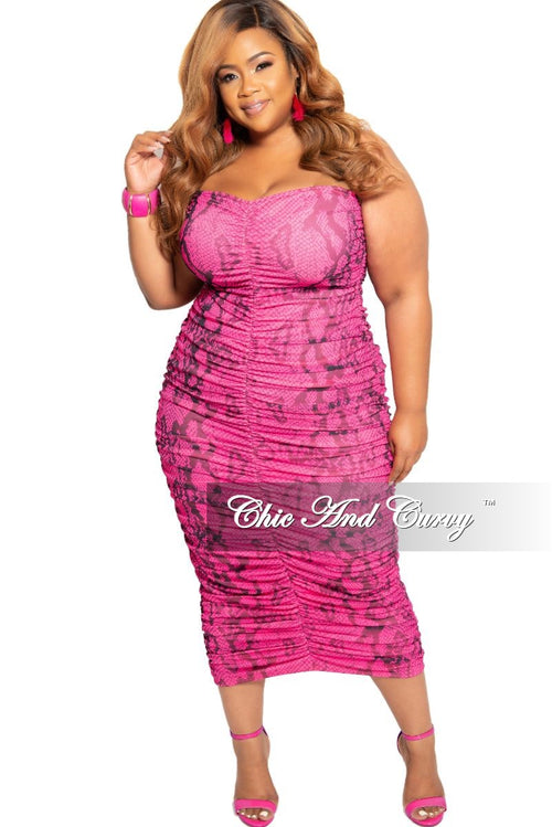 2f458c73017a Final Sale Plus Size Strapless Ruched BodyCon Dress in Pink Snake Skin Print