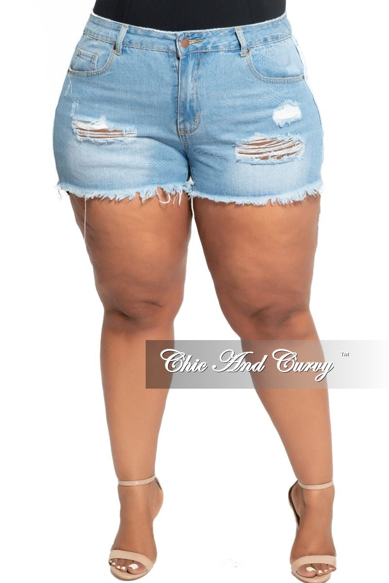 Final Sale Plus Size Distressed Shorts in Light Denim