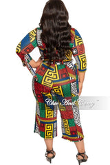 New Plus Size Jumpsuit with Attached Tie in Multi Color Maze Print