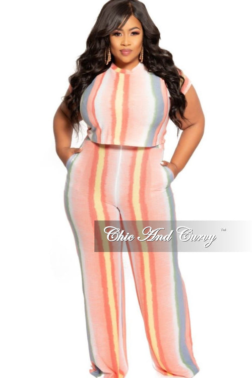 New Plus Size 2-Piece Crop Top and Pants Set in Coral Multi Color Tie Dye Print