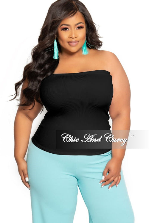 Final Sale Plus Size Ribbed Tube Top in Black