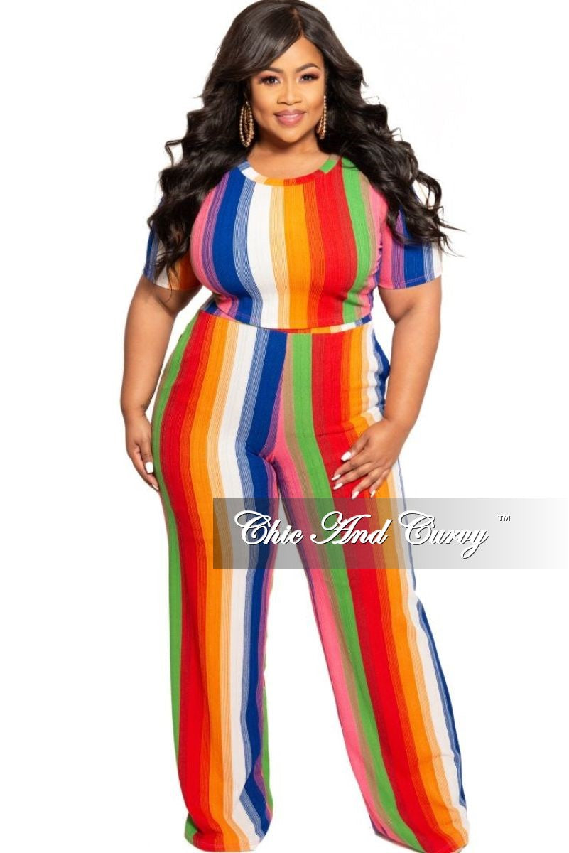 New Plus Size 2-Piece Crop Top and Matching Pants Set in Striped Rainbow Print
