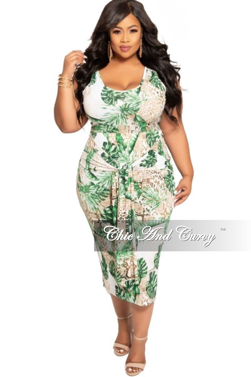 New Plus Size 2-Piece Crop Top and Waist Tie Skirt Set in Tropical Animal Print