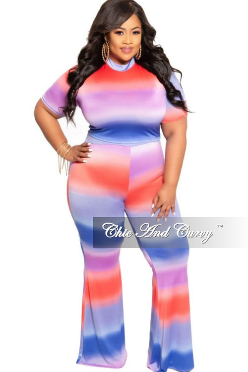 New Plus Size 2-Piece Crop Top and Pants Set in Navy Purple and Red Tie Dye Print