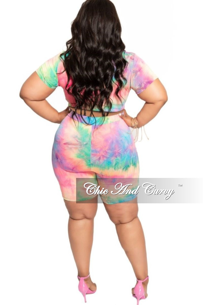 New Plus Size 2-Piece Knotted Crop Top and Short Set in Multi Color Tie Dye Print