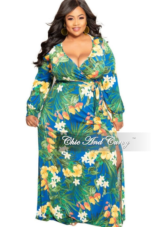 New Plus Size Long Sleeve Faux Wrap Maxi in Royal Blue Multi Color Floral Print