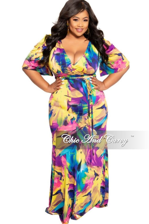 New Plus Size Faux Wrap Dress with Attached Tie in Yellow, Purple and Blue Floral Print