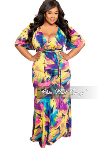 New Plus Size BodyCon Dress with 3/4 Sleeves and Front Overlay in Royal Blue
