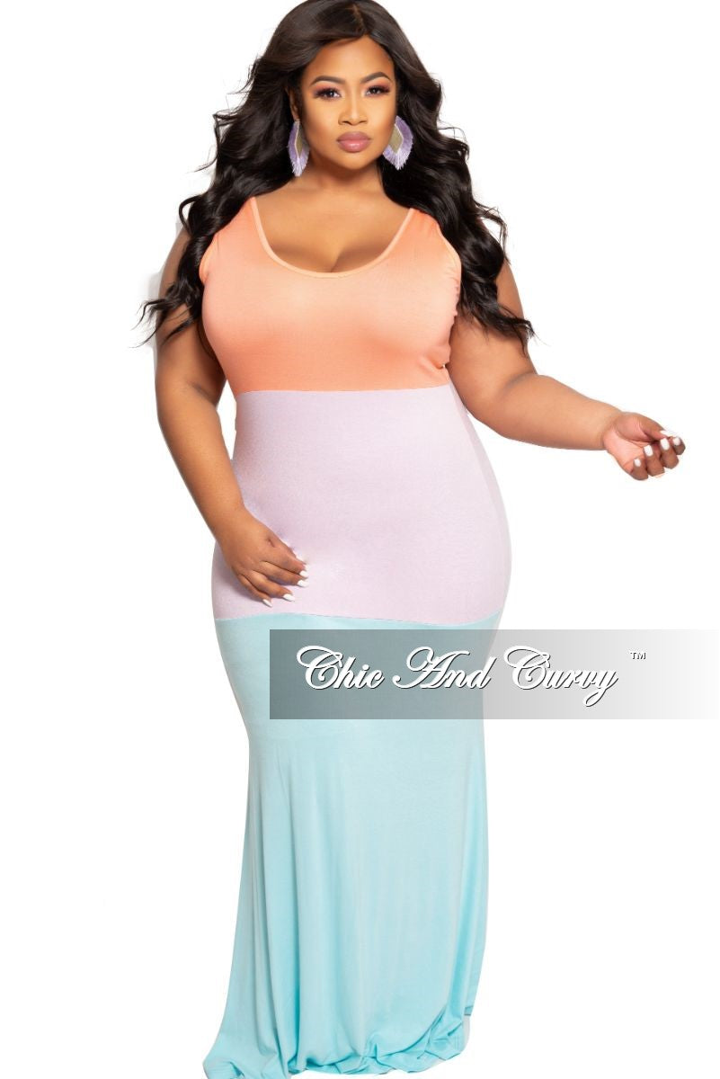 order online united states get online Final Sale Plus Size Sleeveless Maxi Dress in Coral Light Purple and Aqua