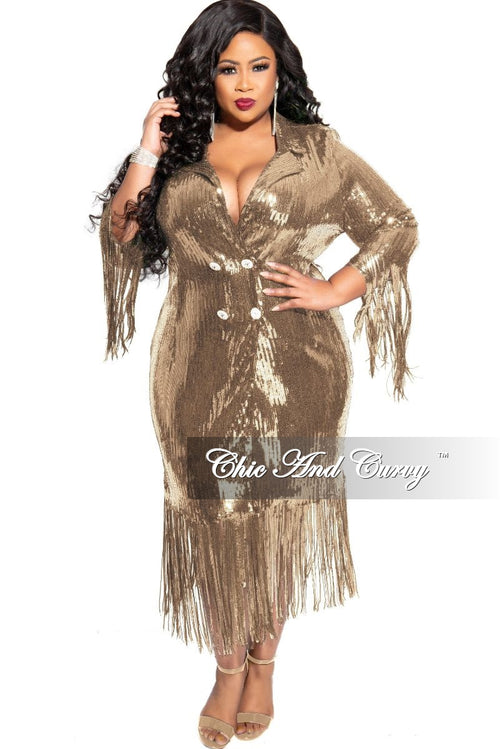 Final Sale Plus Size Sequin Coat Dress / Blazer with Bottom Fringe in Gold