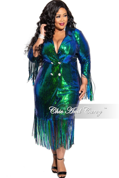 Final Sale Plus Size Sequin Coat Dress / Blazer with Rhinestone Buttons &  Fringe Bottom in Mermaid