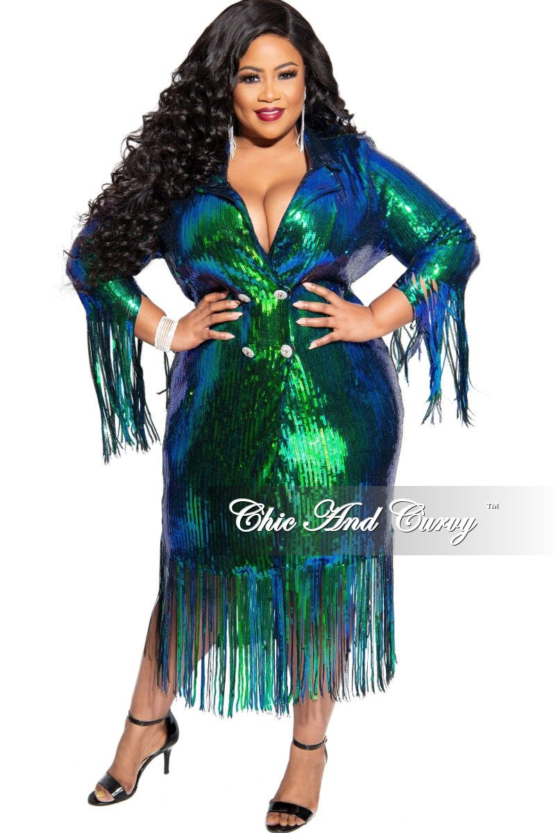 Final Sale Plus Size Sequin Coat Dress / Blazer with Bottom Fringe in Mermaid