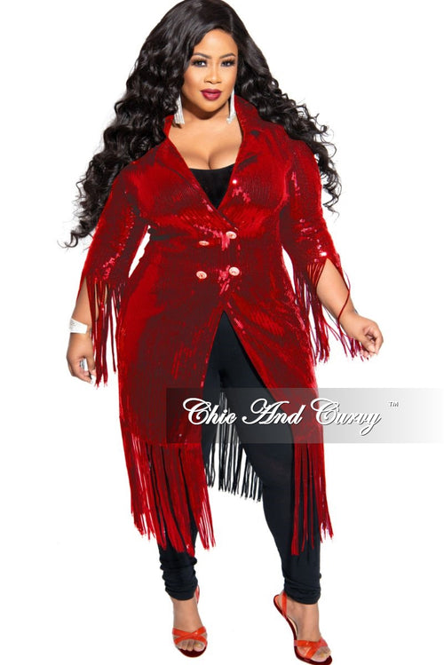 Final Sale Plus Size Sequin Coat Dress / Blazer with Bottom Fringe in Red