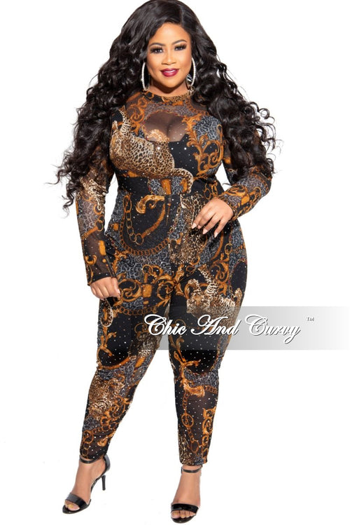 Final Sale Plus Size 2-Piece Mesh Faux Sequin Bodysuit and Legging Set in Black with Animal and Gold Chain Print